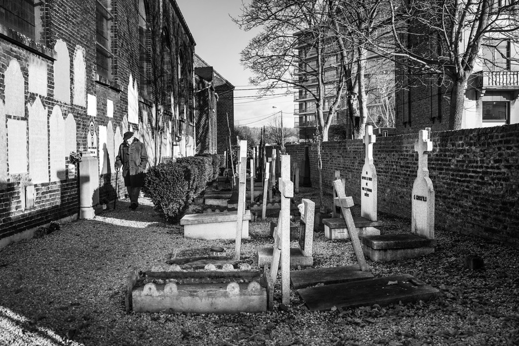 kerkhof van Tamines, waar de Duitsers in 1940 alle sporen naar Duitse gruweldaden in 1914 probeerden uit te wissen