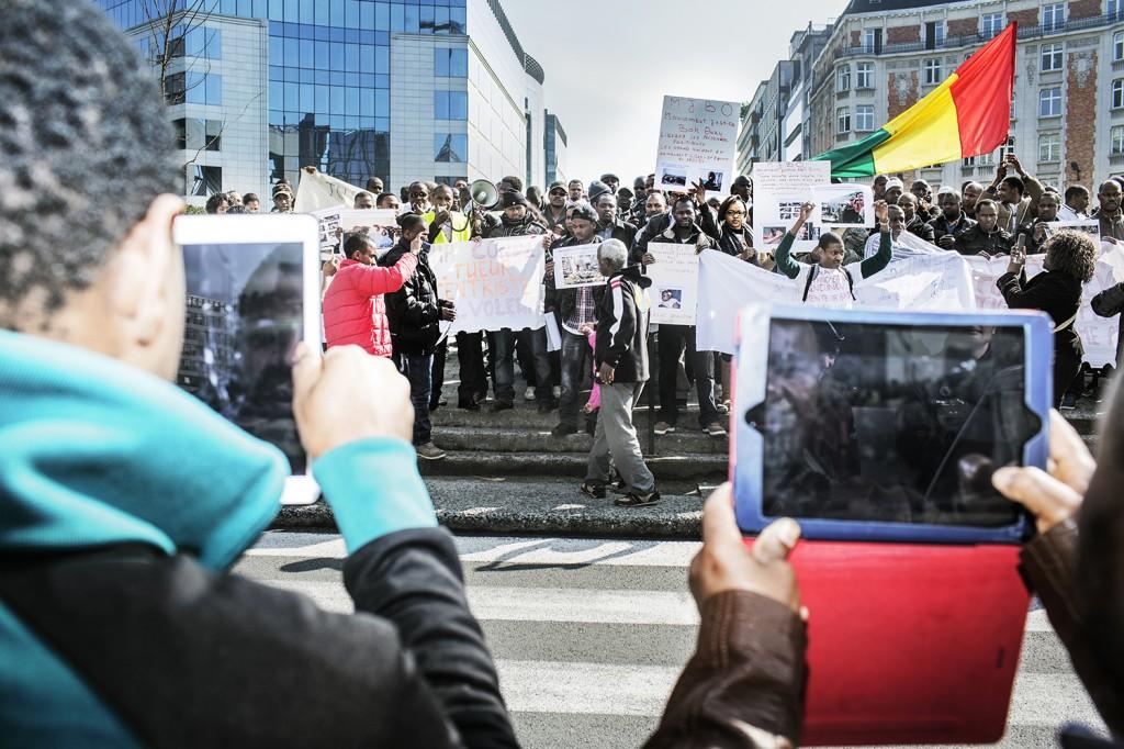 betoging tegen president op Schumanplein