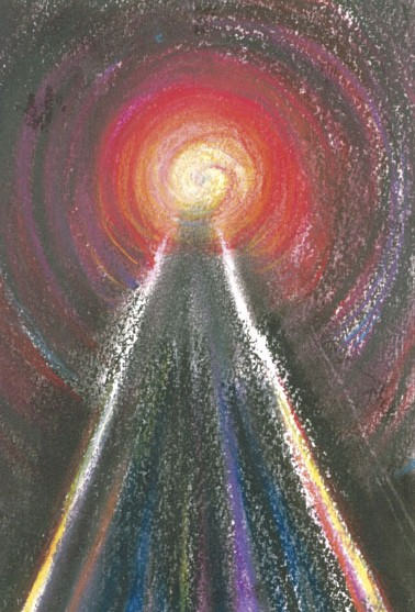 Pastel van Miriam Hyman: 'Light at the end of the tunnel'